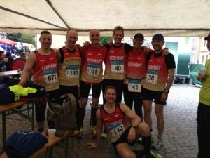 Deutsche Athleten vor dem 10km Start bei EM in Upice